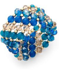 Style & Co. - Goldtone Teal Beaded Coil Bracelet - Lyst