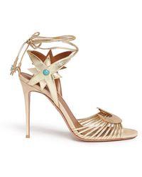 Aquazzura   X Poppy Delevingne 'midnight' Metallic Leather Lace-up Sandals   Lyst