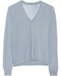 Fendi Cashmere And Silk-Blend Sweater blue - Lyst