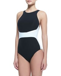 Jets by Jessika Allen Two-Tone High-Neck One-Piece Swimsuit - Lyst
