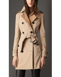 Burberry Gabardine Trench Coat With Check Wool Cashmere Undercollar - Lyst