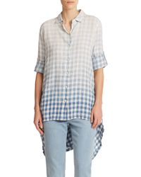 DKNY Plaid Hi-Lo Shirt - Lyst