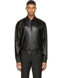Calvin Klein Black Leather Bomber Jacket - Lyst