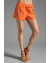 Plenty by Tracy Reese - Washed Linen Blend Scalloped Shorts - Lyst