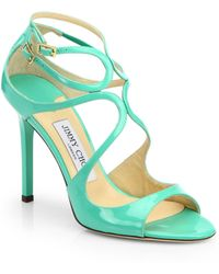 Jimmy Choo Patent Leather Strappy Sandals - Lyst