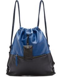 Diesel Blue And Black Leather Twice Backpack blue - Lyst