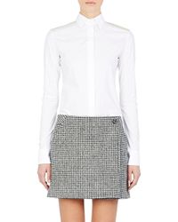 Paco Rabanne Poplin Snap-Front Blouse white - Lyst