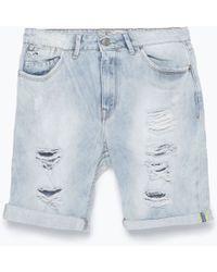Zara Denim Shorts - Lyst