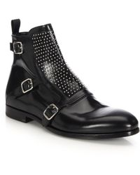 Alexander McQueen   Studded Leather Buckle Boots   Lyst