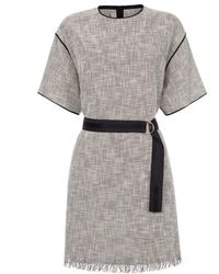 Paul Smith Black And White Textured-Weave T-Shirt Dress - Lyst