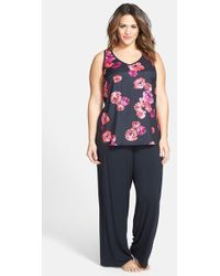 Midnight By Carole Hochman Woven Front Jersey Pajamas - Lyst