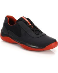 Prada New America'S Cup Leather Sneakers black - Lyst