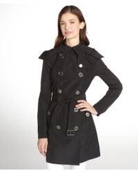 Burberry Brit Black Belted and Hooded Trench Coat - Lyst