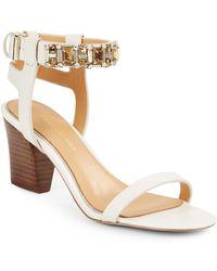Badgley Mischka Gladis Jeweled Ankle Cuff Leather Sandals - Lyst