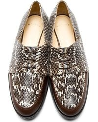 Maiyet - White and Grey Snakeskin Lace_up Shoes - Lyst
