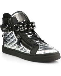 Giuseppe Zanotti Quilted Metallic Leather Chain High-Top Sneakers - Lyst