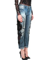 Amen Boyfriend Jeans With Embroidered Patch And Stones - Lyst