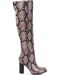 Sam Edelman | Snake-Print Leather Over-The-Knee Boots | Lyst
