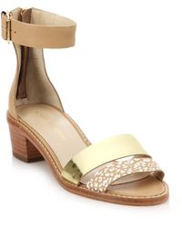 Loeffler Randall Henry Mixed-Media City Sandals beige - Lyst