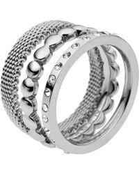 Skagen - Classic Austrian Crystal Silver Steel Ring - Lyst