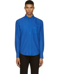 Band Of Outsiders Cobalt Blue Woven Button_down Shirt - Lyst