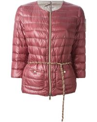 Herno Chain-Belt Quilted Jacket - Lyst