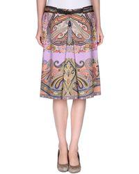 Etro Knee Length Skirt multicolor - Lyst