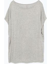 Zara Round Neck T-Shirt - Lyst