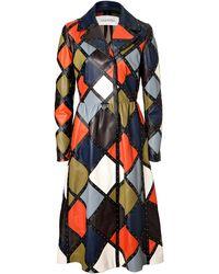 Valentino Leather Harlequin Coat - Lyst