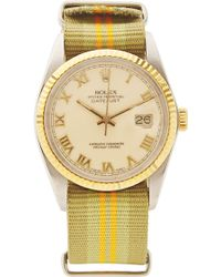 CMT Fine Watch And Jewelry Advisors - Rare Vintage Rolex Datejust with Cream Roman Numeral and Striped Nato - Lyst