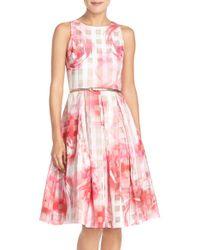 Eliza J | Floral-Print Organza Dress | Lyst