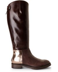 Brunello Cucinelli Dark Brown Mixed Leather Riding Boots - Lyst