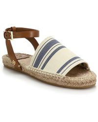 Tory Burch Leather & Striped Woven Espadrille Sandals - Lyst