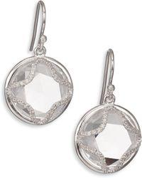 Mija - White Sapphire Framed Button Drop Earrings - Lyst