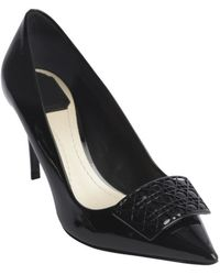 Dior Black Leather Cannge Detail Pointed Toe Pumps - Lyst