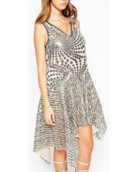 Anna Sui | Celestial Dress In Silver Sequins | Lyst