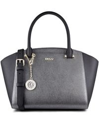 DKNY Metallic Saffiano Leather Satchel - Lyst