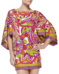 Trina Turk Amazonia Printed Fitted Tunic Coverup - Lyst