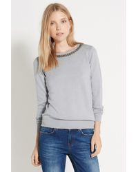 Oasis Gray Necklace Top - Lyst