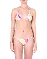 Emilio Pucci Printed Triangle Bikini Geraniomuschio - Lyst