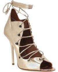 Malone Souliers Savannah Lace-Up Ankle Sandal In Gold Savannah Lace-Up Ankle Sandal In Gold - Lyst
