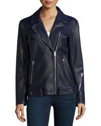 T By Alexander Wang Oversized Waxed-Leather Biker Jacket - Lyst