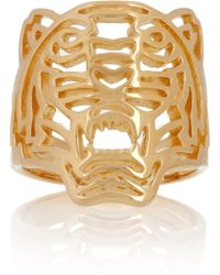 KENZO - Tiger Goldplated Cutout Ring - Lyst