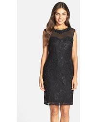 Marina - Crystal Embellished Floral Lace Dress - Lyst