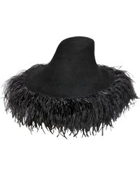 Lanvin Lapin Fur Felt Wide Brim Hat With Feathers - Lyst