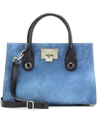 bfb68ac2f5b Jimmy Choo - Riley Medium Leather And Suede Tote - Lyst