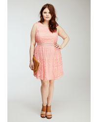 Forever 21 Floral Lace Overlay Dress - Lyst