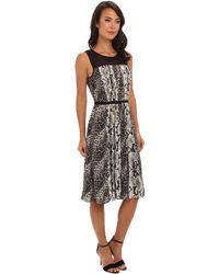 Adrianna Papell Sl Pleated Dress W Graphic Snake Skin  Animal Spots Motif and Chiffon Trim - Lyst