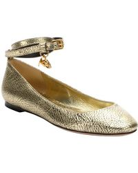 Alexander McQueen Gold Leather Ankle Strap Ballet Flats - Lyst