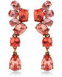 Oscar de la Renta Red Crystal Drop Earrings - Lyst